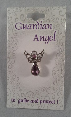 Guardian Angel Crystal Pin: Purple